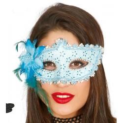Antifaz Azul Deco.con Flor