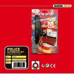 Pistola Metal Policia + Pistones 8 Tiros