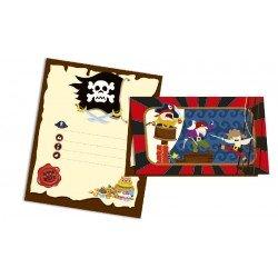 Invitaciones Piratas 6 un.