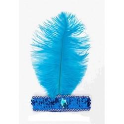 Cinta Charlestón Pluma Azul