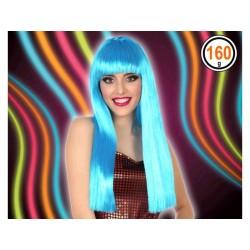 Peluca Azul Melena Flequillo