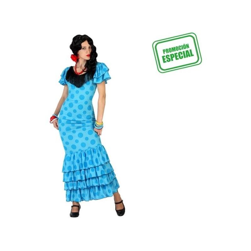 Disfraz de Flamenca Azul T-ML