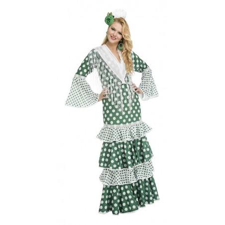 Disfraz de Flamenca Verde Lunares Adulto