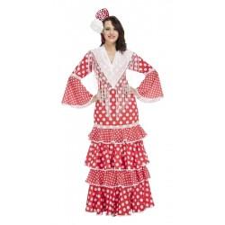 Disfraz de Sevillana lunares blancos XL