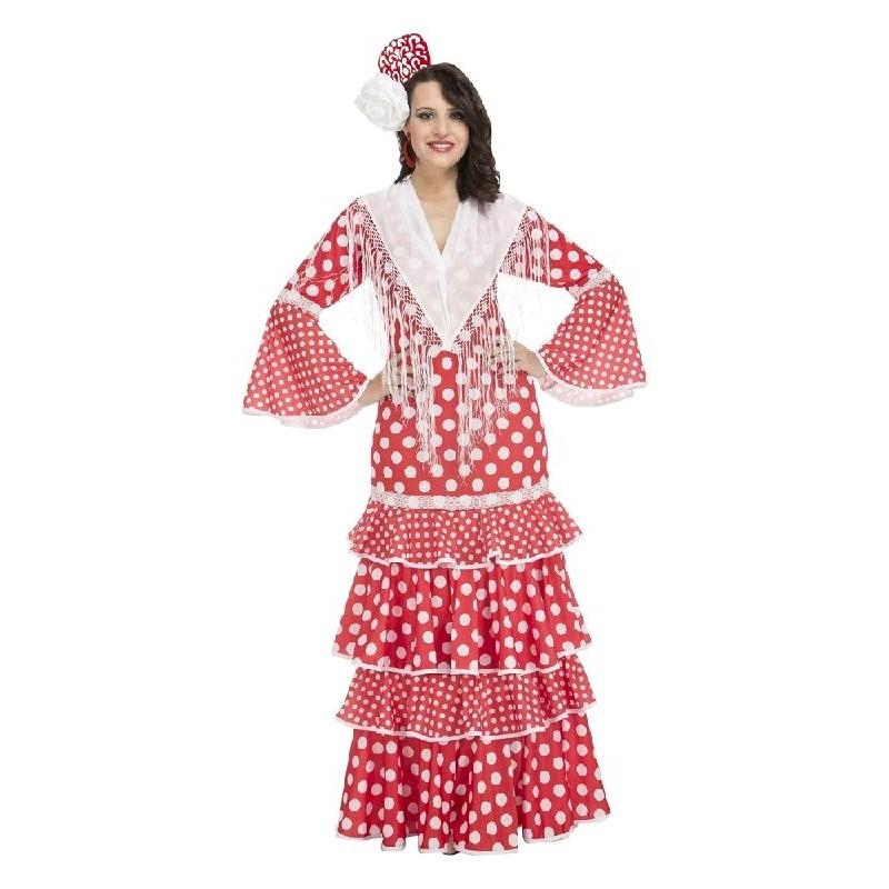 Disfraz de Sevillana Rojo Lunares Blanco