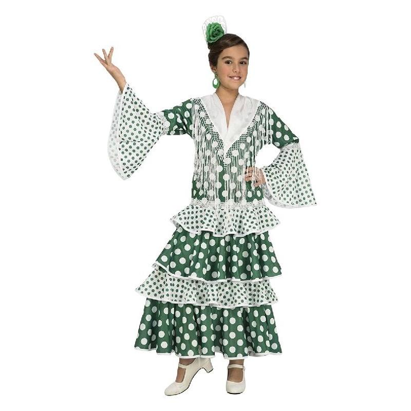 Disfraz de Sevillana Verde Lunares Niña