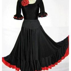 Falda Flamenca Volantes Color Rojo/Negro