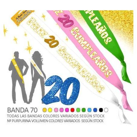 Banda Feliz 20 Cumpleaños Purpurina 70mm