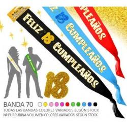 Banda Feliz 18 Cumpleaños Purpurina 70mm
