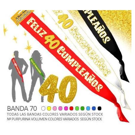 Banda Feliz 40 Cumpleaños Purpurina 70mm