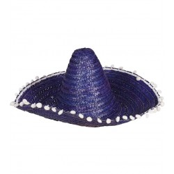 Sombrero Mejicano Paja Azul 50cm
