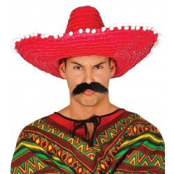 Sombrero Mejicano Paja Rojo 50cm