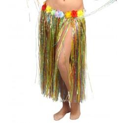 Falda Hawaiana Flores Multicolor 75 cm.