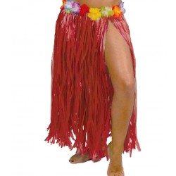 Falda Hawaiana Flores Rojo...