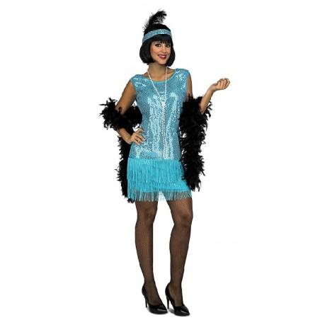 Disfraz de Charleston Turquesa Mujer