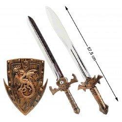 Set Medieval con 2 espadas y escudo
