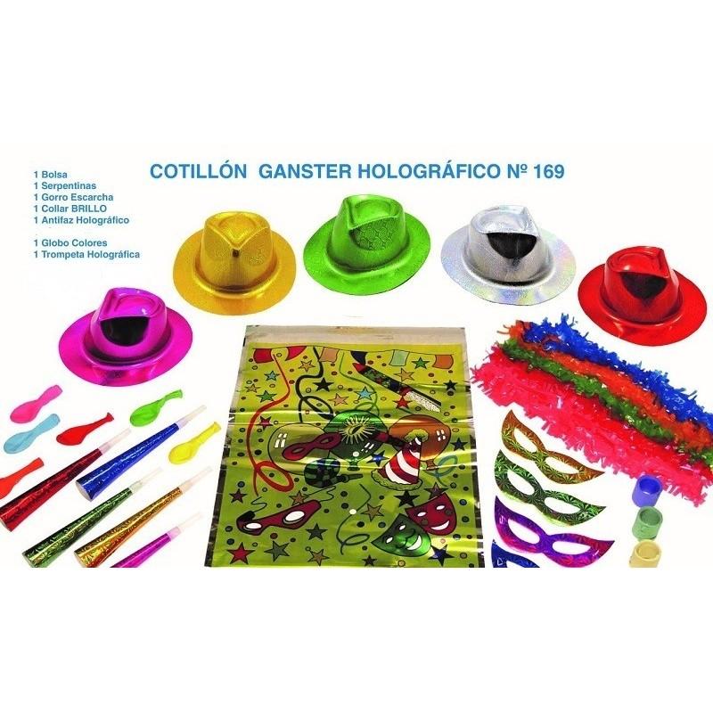 COTILLÓN GANSTER HOLOGRÁFICO 7 PIEZAS