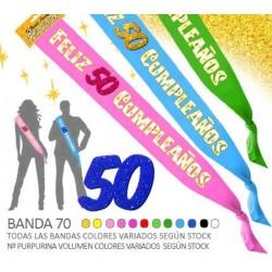 Banda Feliz 50 Cumpleaños Purpurina 70mm