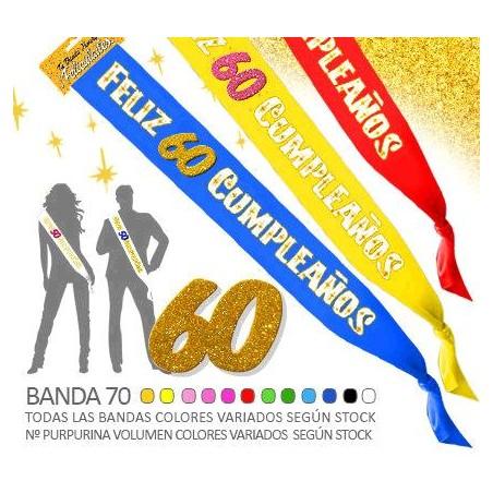 Banda Feliz 60 Cumpleaños Purpurina 70mm