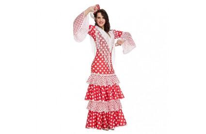 Disfraz de Sevillana Rojo Lunares T.XL