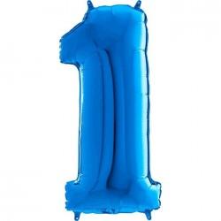 "Globo Nº1 Azul Foil 26"" 66cm."