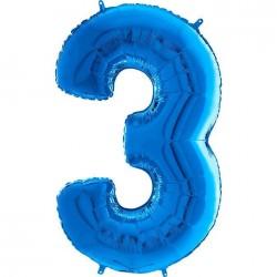 "Globo Nº3 Azul Foil 26"" 66cm."