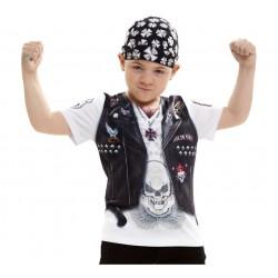 Disfraz camiseta Motero-Roquero niño8-10
