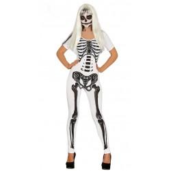 Disfraz de Esqueleta blanca mono para mujer