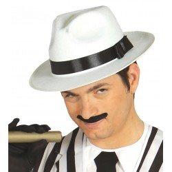 Sombrero de Ganster Blanco Cinta Negra