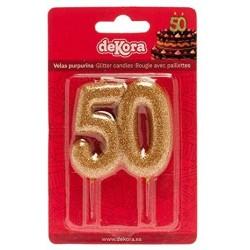 Vela 50 Aniversario Purpurina Oro