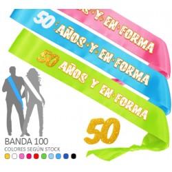 Banda 50 Años y en Forma purpurina 100 mm.