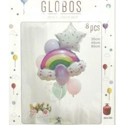 Conjunto Globos Arco Iris 8...