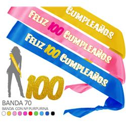 Banda Feliz 100 Cumpleaños Purpurina 70mm