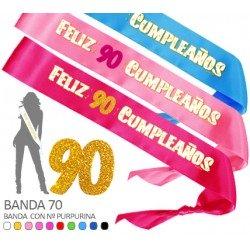 Banda Feliz 90 Cumpleaños Purpurina 70mm
