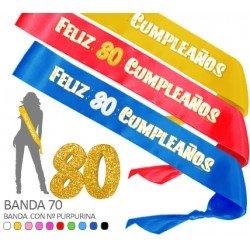 Banda Feliz 80 Cumpleaños Purpurina 70mm