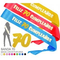 Banda Feliz 70 Cumpleaños Purpurina 70mm