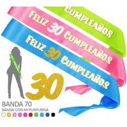 Banda Feliz 30 Cumpleaños Purpurina 70mm