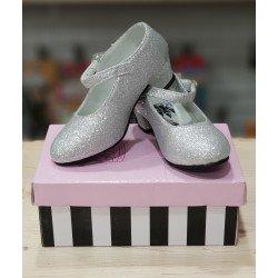 Zapatos con Purpurina Plata para niña