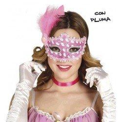 Antifaz Rosa con Pluma