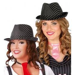 Sombrero de Ganster a Rayas Negro