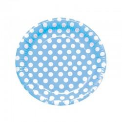 Platos Azul Lunares 8 un.